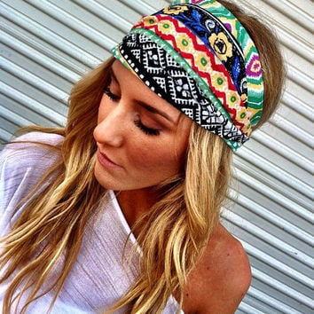 Aztec Boho Headband Cotton Wide Turban Head Scarf