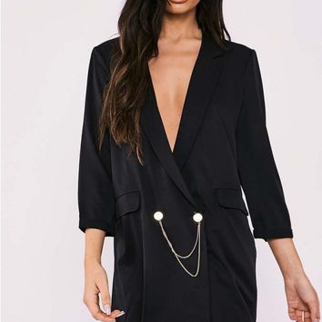SARAH ASHCROFT BLACK OVERSIZED PLUNGE CHAIN TRIM BLAZER DRESS