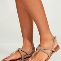 Coming Undone Sandals: Taupe