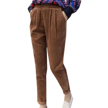 2017 Fashion Spring Corduroy Pants High Waist Loose Harem Pants Slim S-XXL Pleated Pantalones Simple Solid Color Women Trousers