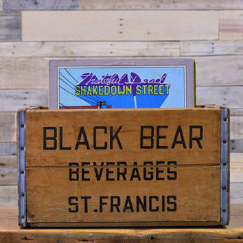 Vintage Black Bear Beverages Crate, Wood Soda Crate, St. Francis Wisconsin