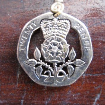 British 20 pence hand cut coin jewelry