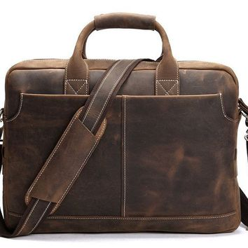 BLUESEBE Men Handmade Dark Brown Vintage Leather Briefcase/Messenger Bag 8012