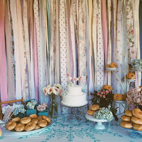 Shabby Backdrop Rustic Chic Boho Long Fabric Garland - Banner, Nursery, Dorm, Gypsy…-TREND alert 4' x 6'