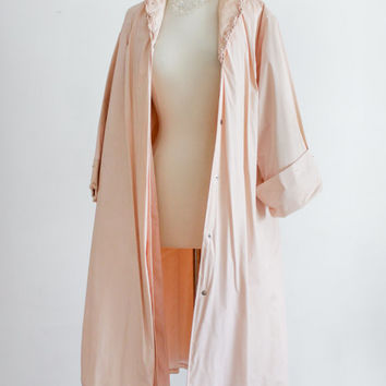 RARE 1950's Rain Coat - Plastic Jacket, Vintage Outerwear, Swing Coat // Pink Pastel - Medium Large
