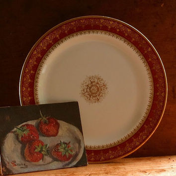 Vintage French Limoges Platter - Serving Dish - Cake Plate - Hand Painted Red & Gold - Wanamaker's Dept. Store - Retro Cottage Kitchen Decor
