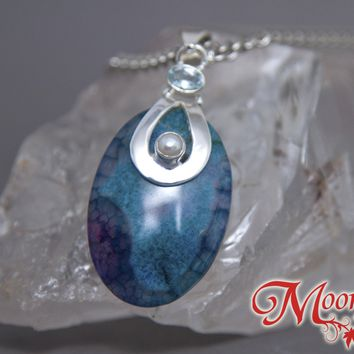 Dragon Vein Agate Oval Pearl Aquamarine Sterling Silver Pendant SP-003