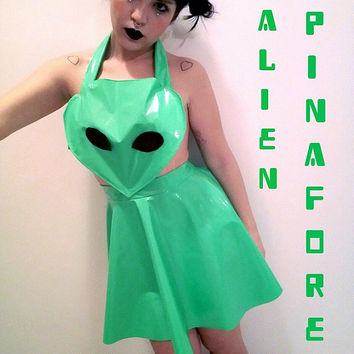 Handmade 90'S Clubkids Alien Pinafore with Skater Skirt size XS - S - M - L - XL Available In Silver or Acid Green