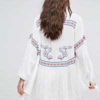 River Island Embroidered Beach Kimono at asos.com