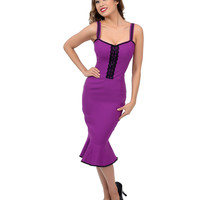 Magenta & Black Stretch Scarlet Wiggle Dress