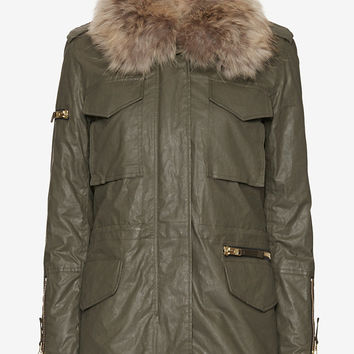SAM Kate Rabbit/Raccoon Fur Army Jacket at INTERMIX | Shop Now | Shop IntermixOnline.com