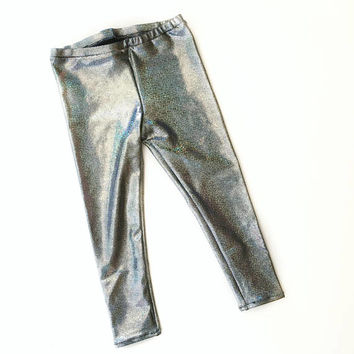 Silver leggings- baby toddler kids leggings- girls leggings- metallic, holographic leggings- rock star leggings- silver/black irridescent
