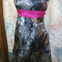 Custom Made CAMO Prom Wedding Bridesmaids Pleated Skirt Short Dress w/Belt