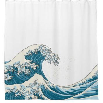 Great wave - light blue shower curtain