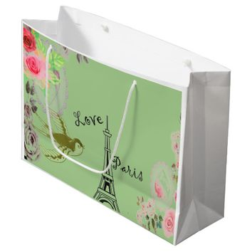 Mint Eiffel Tower Roses Gift Bag