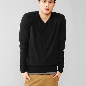 Cotton Slub V Neck Sweater