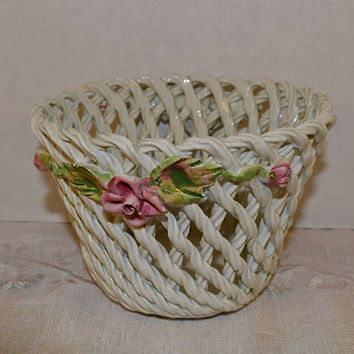 Italian Ceramic Weave Basket Sculpted Flowers Leaves Vintage Small Pink Flowers White Twisted Woven Porcelain Basket Made in Italy