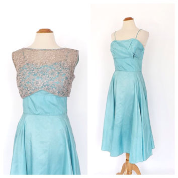 Vintage 1950s Dress Tea Length Prom Gown Teal Blue Lace Taffeta Cocktail Dress 50s Couture Party Dress Size Small 1960s Bridesmaid Dress