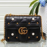 Gucci Women Pearl Bag Fashion Leather Satchel Shoulder Bag Crossbody