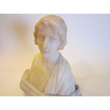 Folk Art Hand Carved Marble Sculpture Bust On Stand