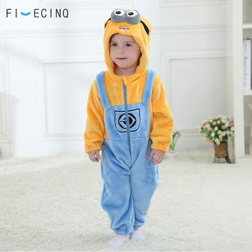 Baby Bodysuit Minions Kigurumi Anime Cartoon Cosplay Costume Infant Onesuit Winter Sleep Play Game Jumpsuit Funny Pajama Flannel