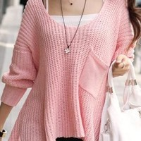 Pink Tender Single Pocket Sweater