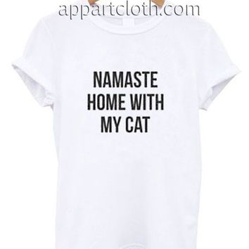 Namaste Home With My Cat Funny Shirts, Funny America Shirts