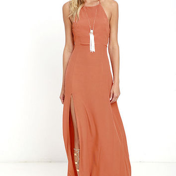 Mink Pink Little Lolita Rust Orange Maxi Dress