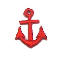 "Anchor, Red Embroidered Iron-On  1"" x .75"""