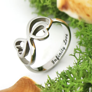 "Lovers Ring,Infinity Ring,Double Heart Promise Ring,Wedding Ring ""Infinity Love"""