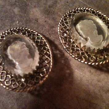 Vintage Whiting & Davis Glass Intaglio Cameo and Filigree Clip Earings