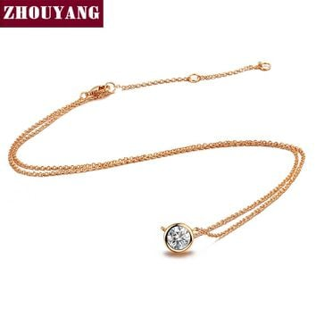 ZHOUYANG Necklace For Women Simple Style Cubic Zirconia Pendant Necklace Rose Gold Color Fashion Jewelry Brithday Gift ZYN388