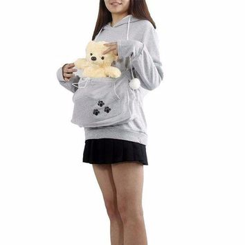 DCCKH6B Cat Lovers Hoodies With Cuddle Pouch Mewgaroo Nyangaroo Dog Pet Hoodies For Casual Kangaroo Pullovers With Ears Sweatshirt 4XL