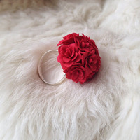 Polymer clay flower ring - red ring - red jewelry - flower ring