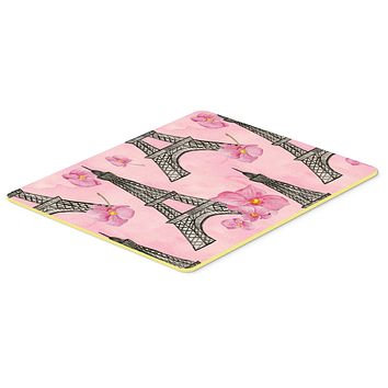 Watercolor Pink Flowers and Eiffel Tower Kitchen or Bath Mat 24x36 BB7511JCMT