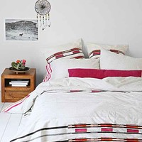 Bohem Hand-Block Ikat Stripes Duvet Cover- Pink Full/queen