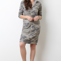 Terry Knit Hooded Camouflage Sweater Dress