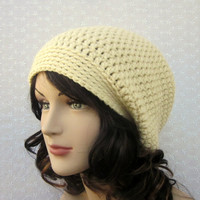 Cream Slouch Beanie - Womens Slouchy Crochet Hat - Oversized Cap - Fall Winter Fashion Accessories