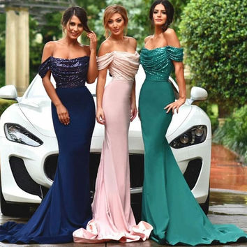 2017 Fashion Bling Sequin Long Evening Dresses Gorgeous Boat Neck Off the Shoulder Navy Blue Emerald Green Mermaid Prom Dress