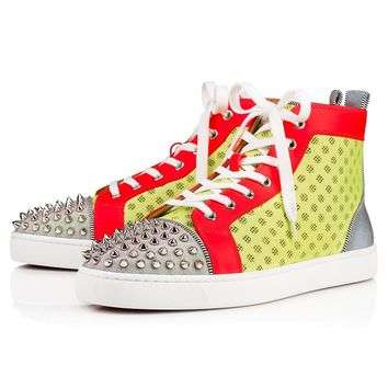 Christian Louboutin Cl Ac Lou Spikes Orlato Version Sun Fluo Mesh/glitter Sunset 1191292y152 19s Sneakers - Best Online Sale