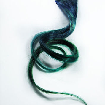 Human hair extension, hair extension, green clip in // blue hair // Tie Dye Colored Hair // SWALLOWTAIL