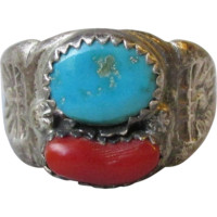 Vintage Early Tribal Native American Navajo Sterling Silver Turquoise & Red Coral Ring, Size 10