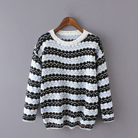 Block Patterned Knitted Sweater