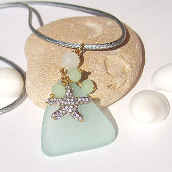 Aqua sea glass necklace with starfish charm Sea glass jewelry Sea glass pendant Genuine eco friendly Beach jewelry Beach wedding