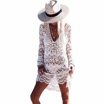 Full Sleeve See Through Crochet Bathing Suit Cover up For Women