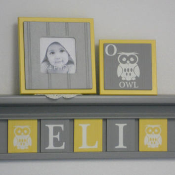 "Owl - Baby Nursery Room Decor, Personalized Name Shelves, Block Tiles Custom for ELI with Owls, 5 Yellow and Gray Plates on 24"" Grey shelf"