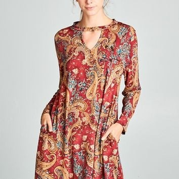 Burgundy Paisley Print Dress with Keyhole Front