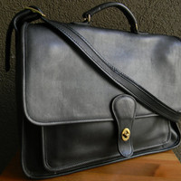 Vintage Black Coach Style Cowhide Leather Messenger Briefcase