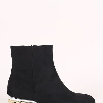 Bamboo Suede Chain Heeled Booties