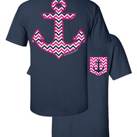 SALE Southern Couture Chevron Anchor Faux Pocket Navy Girlie Bright T Shirt